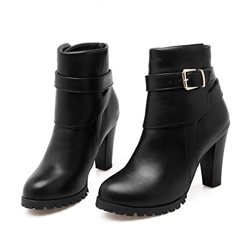 1TO9 Ladies Chunky Heels Buckle Solid Wheeled Heel Shoes Imitated Leather Boots Black 39GI4
