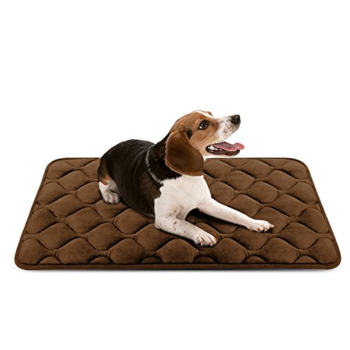 Sleeping Dog Bed Mat Soft Fleece Anti-slip Pad Medium Coffee by HeroDog