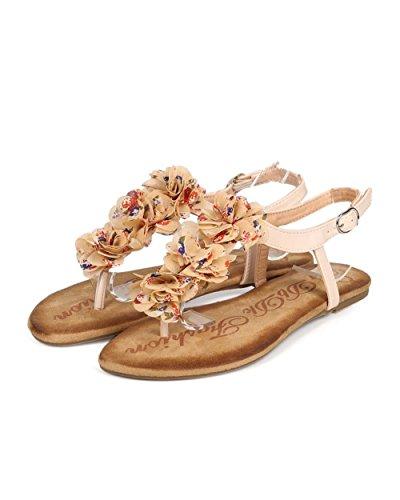 Dbdk Eb30 Femmes Fleur Mousseline De Soie T-strap Slingback String Sandale Nue