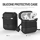 DEESEE(TM) NewEarphone Silicone Case Cover Pouch For Apple Airpods New + AirPods Strap (Black)