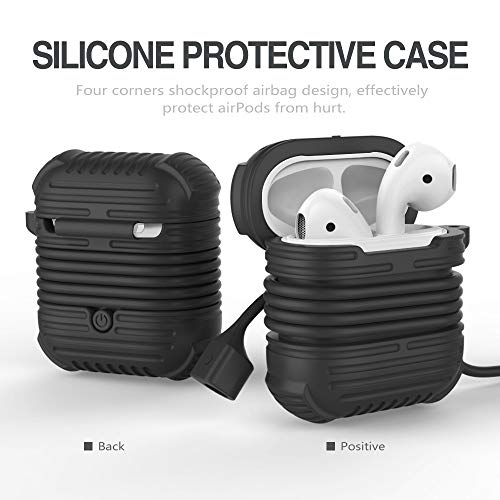 DEESEE(TM) NewEarphone Silicone Case Cover Pouch For Apple Airpods New + AirPods Strap (Black) -