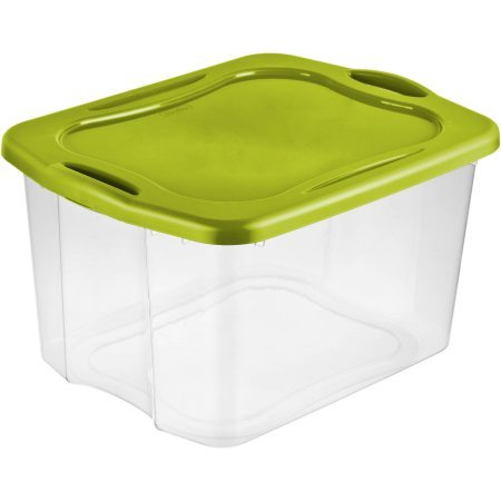 Sterilite 70 Quart EZ Carry- Spicy Lime, Comfortable, Case of 6 carry thru handles, See-through base and Deep recessed lid for secure stacking