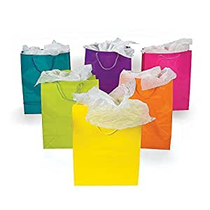 1 X Lot of 12 Large Bright Neon Color Paper Gift Party Bags [Health and Beauty] by Fun Express