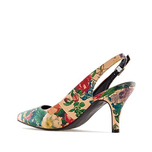 Andres Machado AM5231 - Mittelhoher Damenschuh mit Blumenmuster.EU 32 bis 35/42 bis 45 Blumen Vintage