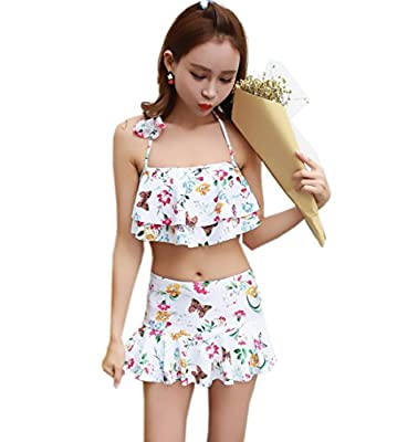 Women Fashion Skirted Two Pieces Swimwear Floral Print Bikini Set