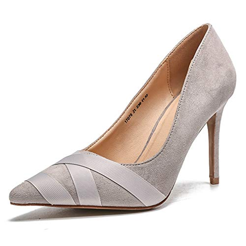 (CYBLING Women's Sexy Pointed Toe Pumps Slip On Stiletto High Heels Office Lady Wedding Party Dress Shoes Grey)
