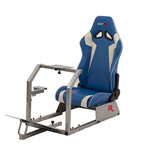 Cheap GTR Racing Simulator GTA-S-S105LBLWHT- GTA Model Silver Frame with Blue/White Real Racing Seat, Driving Simulator Cockpit Gaming Chair with Gear Shifter Mount