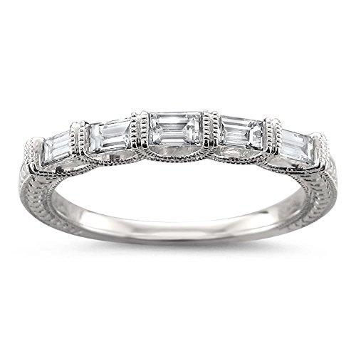 14k White Gold 5-Stone Baguette Diamond Milgrain Vintage-Style Wedding Band Ring (1/2 cttw, H-I, SI1-SI2), Size 6.5 by La4ve Diamonds