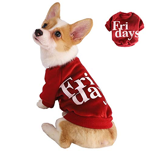 Kitipcoo DogTShirtsforSmallDogs Clothes, Friday Dog Print Shirts Dog Pajamas Costume Dog Apparel for Pug Bulldog Corgi Schnauzer Poodle Clothes