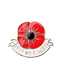 Lest We Forget Poppy Flower Brooch Red Enamel Rhinestone Pin Brooch Memorial Day