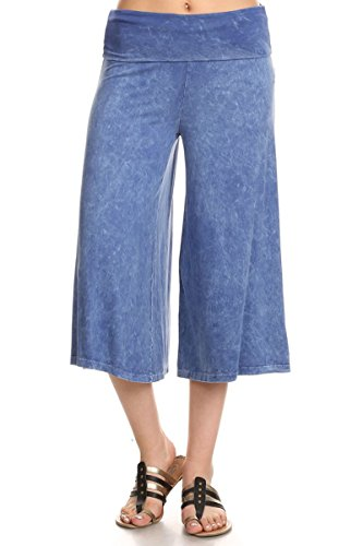 (HEYHUN Women's Solid Mineral Washed Tie Dye Wide Leg Flared Capri Boho Gaucho Pants - Light Blue)