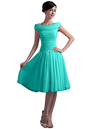 DINGZAN Knee Length Bridesmaid Dresses for Wedding Guest Chiffon ...