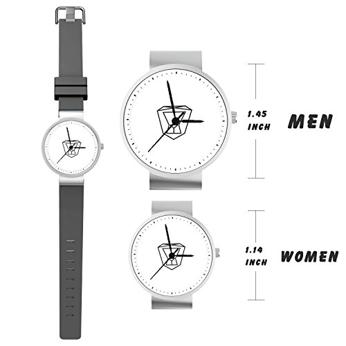 TobyFord Lovers Watch, Sweet Couples Leo Watch Gray Silicone Band Watch Gift for Him and Her Minimalist Fashion Cute Watches for Men & Women (2 Pieces)
