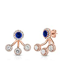Sterling Silver Front Back 2 in 1 Cubic Zirconia and Created Sapphire Halo ER and Ear Jacket Cuff Set.