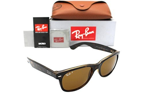 Ray-Ban RB 2132 902/57 55mm New Wayfarer Tortoise w/ Brown Polarized - 2132 Ray Sizes Ban