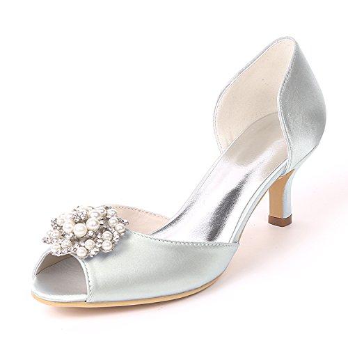 Con Pesce Moojm Da On E Perle Scarpe Sposa Sandali Silver Bocca Squisite Tacchi 6cms Sposa Toe Slip Strass SpqIrqw0x