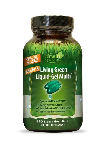 Irwin Naturals Living Green Multi Liquid-Gel for Men, 120 Count (Pack of 3)