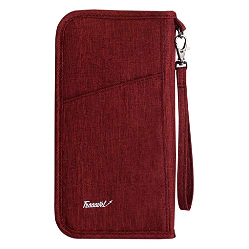Pinleg Storage Bag Men and Women Long Style Fashion Leisure Passport Package Documents Travel Wallet Cash Tickets Cards Pen (Wine) ()