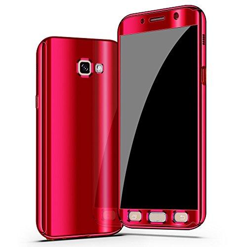 Galaxy A5 2017 Hülle,Galaxy A5 2017 360 Grad Hülle Spiegel,SainCat Hart PC Hülle Mirror Case Spiegel Handyhülle für Samsung Galaxy A5 2017 [Thin Fit 360] Komplettschutz Front + Back Rundum Double Beid Mirror 360 Rot