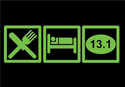 DD645LG Eat Sleep 13.1 Half Marathon Decal Sticker | 7.5-Inches By 2.5-Inches | Premium Quality Lime Green Vinyl