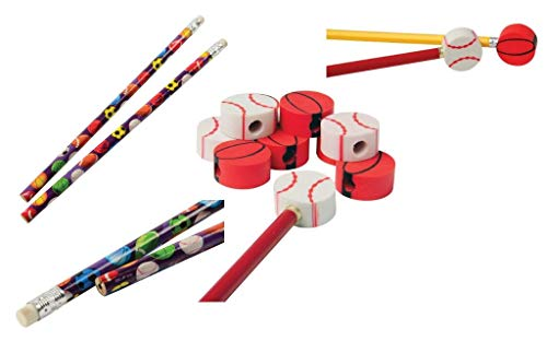 Bulk Sports Themed Eraser Pencil Tops & Pencils (Pack of 24; 12 Pcs Each) Pencil Eraser Toppers, Eraser Tops, Pencil Cap Erasers For Kids Goody Bag Fillers, School Classroom, Home & Office