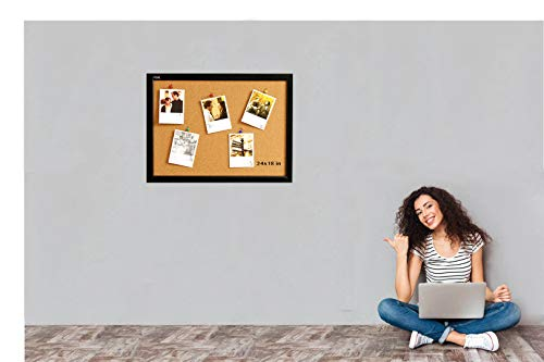 Wood Frame Cork Board Bulletin Board 24 x 18, Mounting Hardware, Push Pins Included by gideal (Image #8)