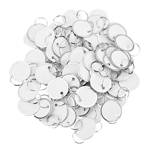 Fanrel 100 Pieces Metal Rimmed Key Tags Round Paper Tags with Split Rings (40mm, White) ()