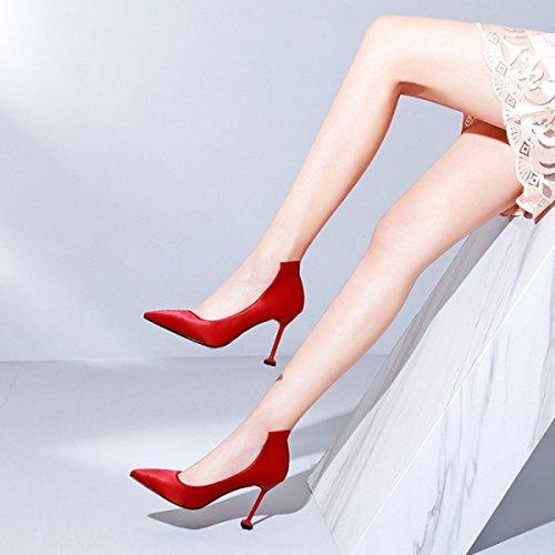 Damenmode Rot Bankett Heels Spitz Stiletto Pumps Für Formale Hochzeit Patry Slip Auf Satin Pumps Court Schuhe Red