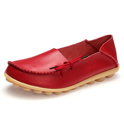 BTDREAM Women's Leather Slip-on Loafers Moccasins Casual Flat Driving Boat Shoes with Memory Foam Insole 002-red