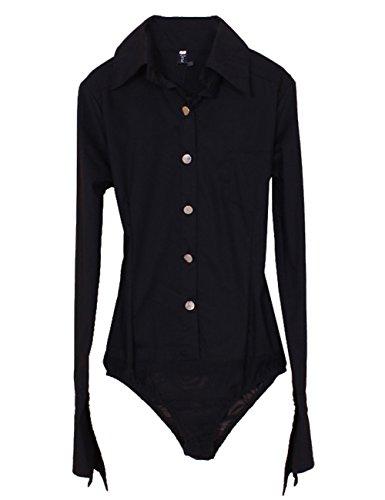 Body CO Blouse Noir manches longues Shirt Coton OL ZAMME femmes Button qXg1wHxO1