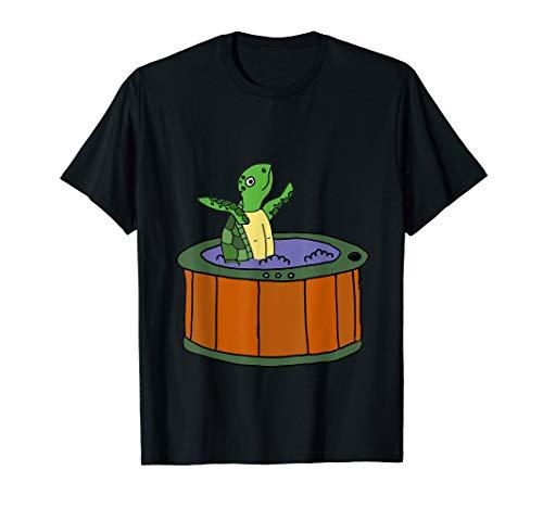 (SmileteesAnim Funny Sea Turtle in Hot Tub T-shirt)