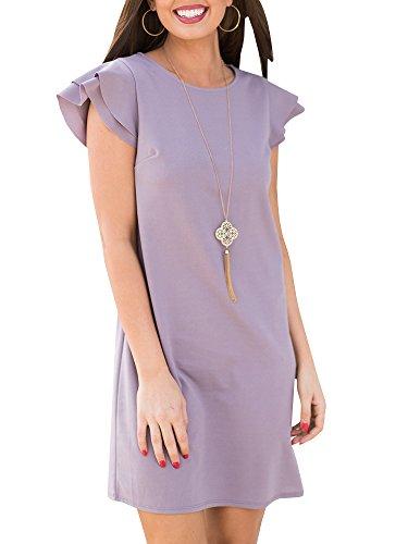 Beautife Womens Summer Mini Dresses Ruffle Cap Sleeve Casual Round Neck Loose Fit Tunic Dress - Ruffle Cap