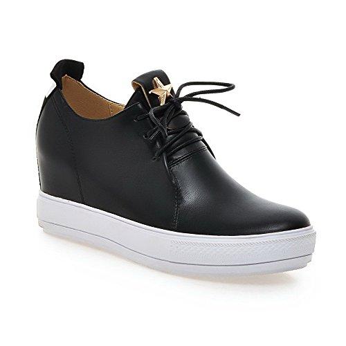 Odomolor Damen PU Leder Eingelegt Schnüren Rund Schließen Zehe Hoher Absatz Pumps Schuhe Schwarz