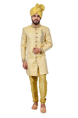 Golden Zari Brocade Silk Traditional Indian Wedding Indo-Western Sherwani for Men by Saris and Things