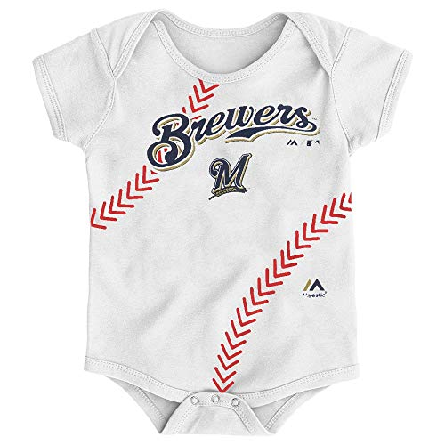 Outerstuff Milwaukee Brewers MLB Majestic Infant Stitches Baseball Creeper (Baseball White Brewers Milwaukee)