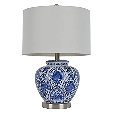 Table Lamp Ceramic Features a Classic Blue and White Design with Hardback Shade