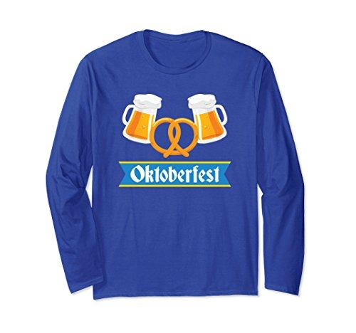 Unisex Oktoberfest Beer Mugs & Pretzel Bavarian Long Sleeve T-Shirt Large Royal ()