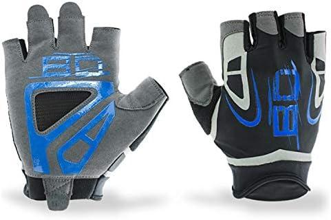 XueQing Pan ジムボディビルディングトレーニングスポーツフィットネスウェイトリフティンググローブ男性用ランニングハイキングエクササイズサイクリングヨガグローブ(ペア) (Color : Blue, Size : L)