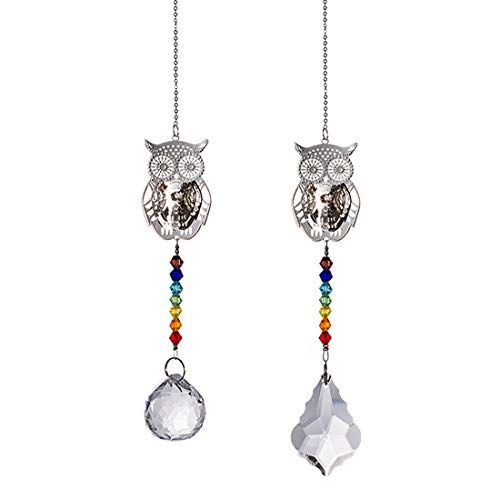 Crystal Suncatcher Chakra Colors Beads Owl Window Hanging Ornament Rainbow Suncatcher,Pack of 2 for Christmas Day,Wedding,Plants,Cars,Window Decor -