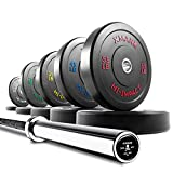 XMark Voodoo Commercial 7′ Olympic Bar Plus 340 lbs. of XMark HI-Impact Low Bounce Virgin Rubber Olympic Bumper Plates