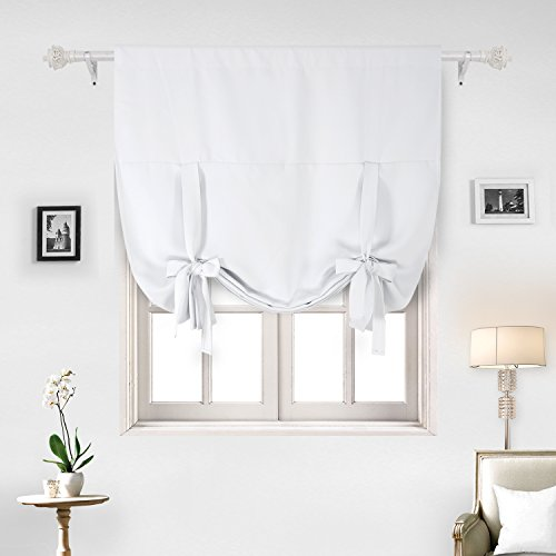 Deconovo Curtains Rod Pocket Blackout Curtain Thermal Insulated Blackout Curtains for Living Room Off White 46W x 63L One Panel (Block Star Small)