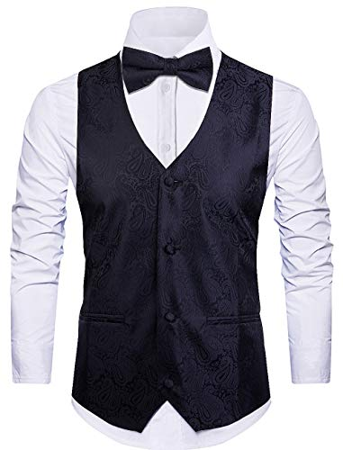 - Cyparissus 3pc Paisley Vest Men Neck Tie Bow Tie Set Suit Tuxedo