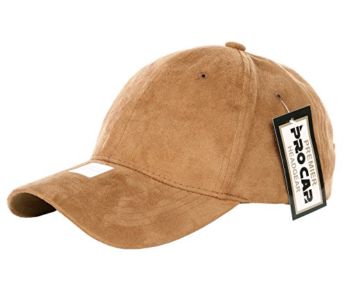 RufnTop Classic Faux Leather Suede Adjustable Plain Baseball Cap(Camel OS)
