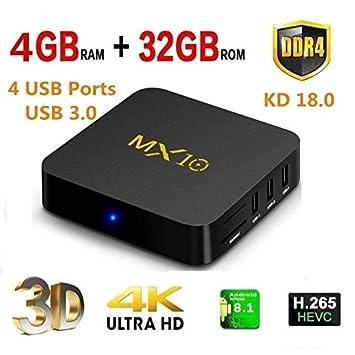 4 K de TV Box, MX10 Android 7.1 caja de Smart TV RK3328 Quad-Core ...