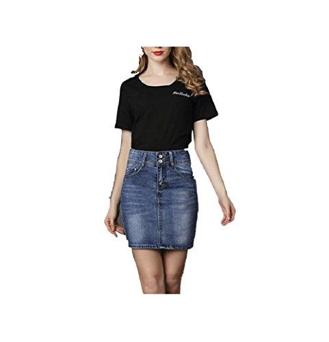 Mini Jean Bleu Sexy Haute Femme Taille Courte Jupe Oudan Crayon Marin Slim en Jupe Et Printemps g806q