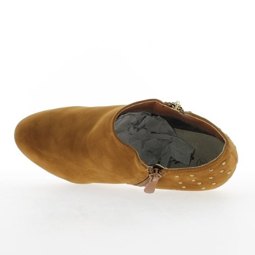 Stiefel niedrig Kamel Frau in Heels von 12,5 cm und 3cm Platte