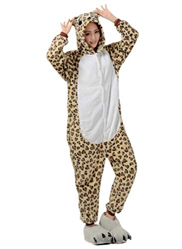 Nicetage Adult Onesies for Women Pajamas Leopard Costume Men Teens Girl Animal Onsie Leopard L