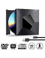 Lettore Masterizzatore DVD CD Esterno Portatile 2 in 1 USB 3.0 e USB Type C Lettore DVD per PC Windows XP/2003/Vista/7/8.1/10, Linux, Version Mac OS