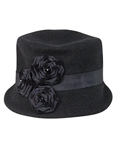 Women's Hat West Black Micro Nine Knit Rosette Brim Baq45x6