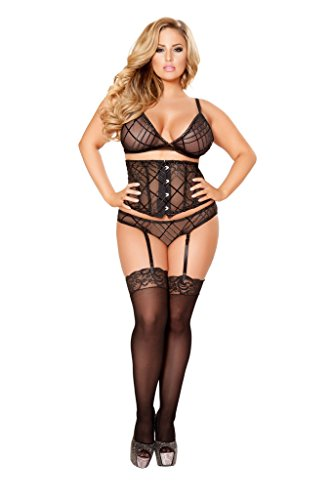 [3pc Top, Waist Cincher with Boning Bundle with stockings] (Top Ideas For Halloween Costumes 2016)
